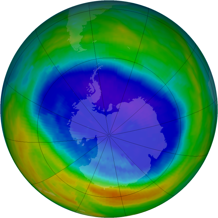 Antarctic ozone map for 15 September 1992